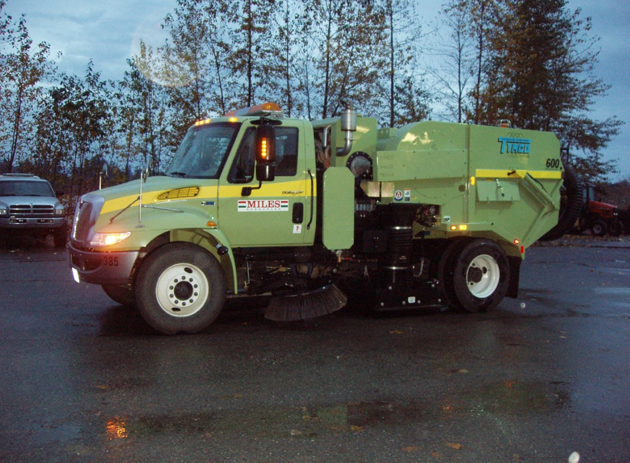 A custom Tymco 600 air sweeper prepped & ready to roll