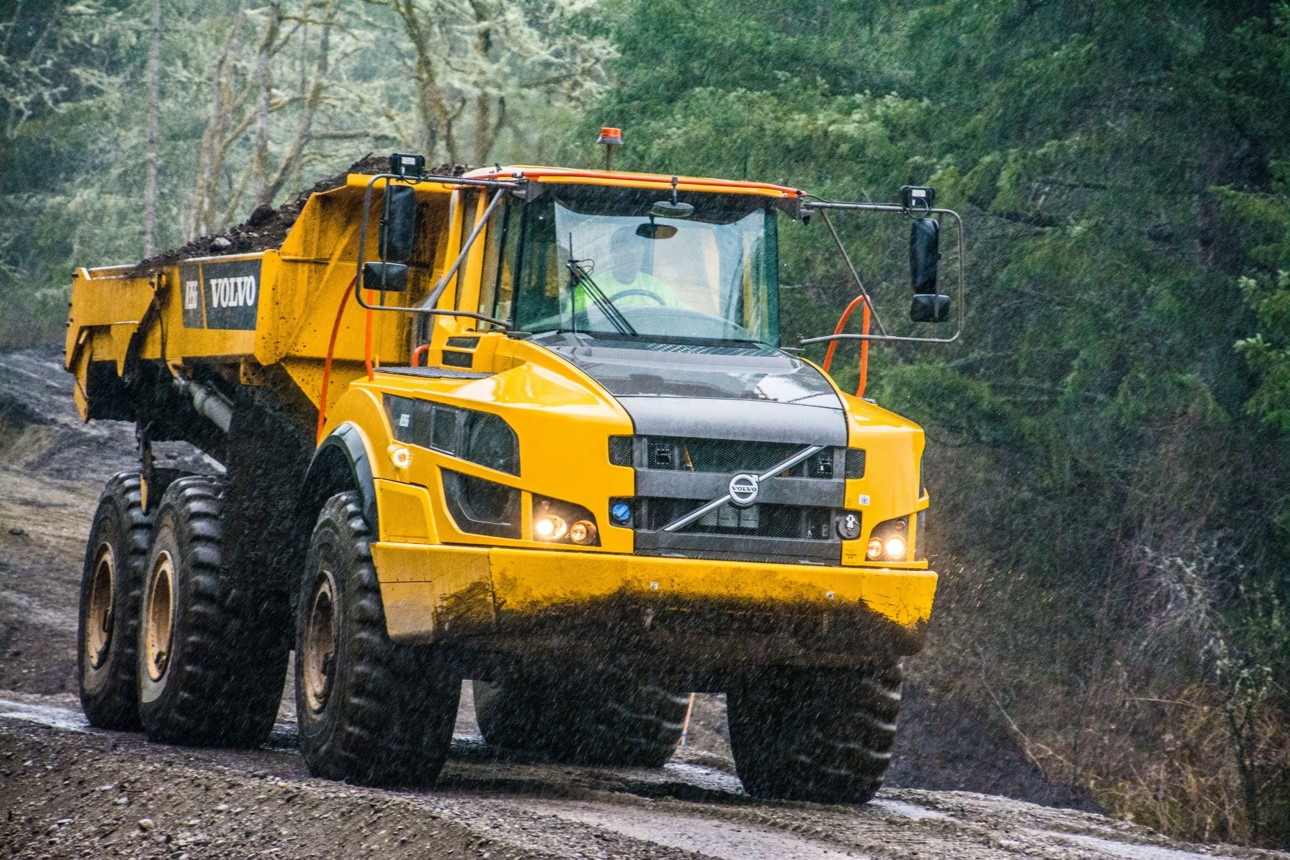 Rugged and powerful, the Volvo A35G gets the job done in all Northwest conditions