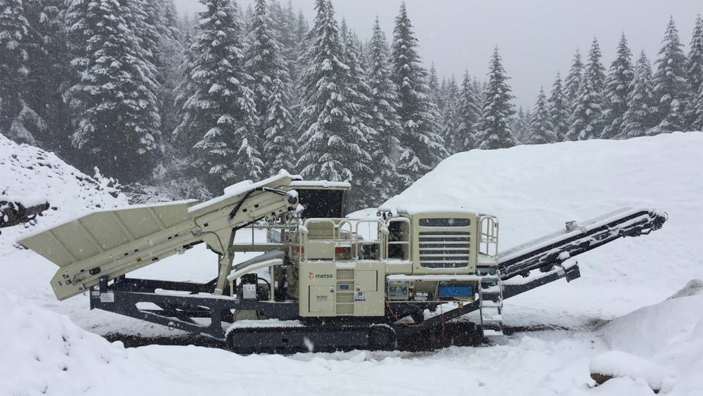 A Metso crushing plant taking a snow day in early March