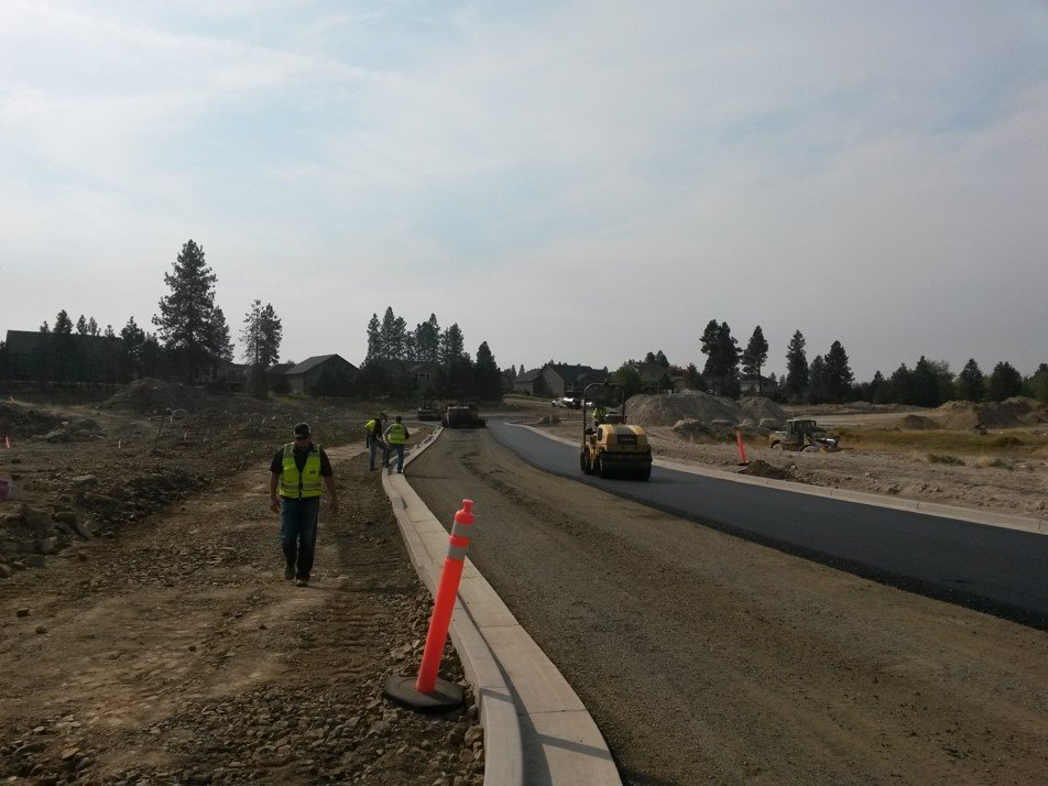 A DD38HF compacting new streets in an eastern Washington subdivision
