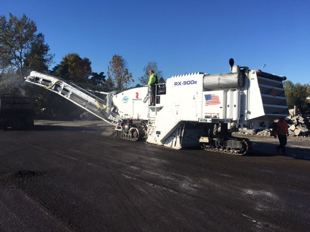 A Roadtec RX-900e milling the pavement in preparation for resurfacing.