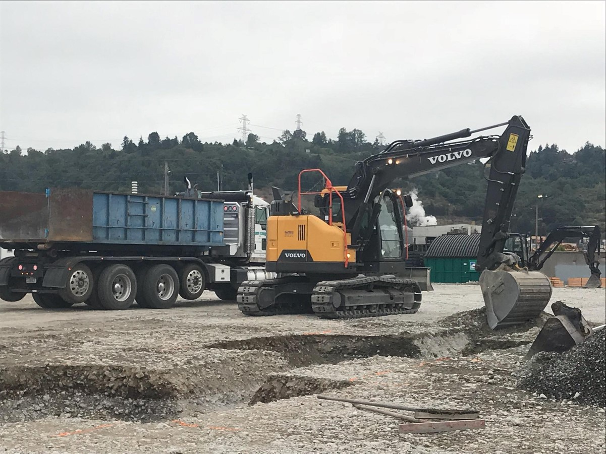 A Volvo excavator digging the footing for a foundation